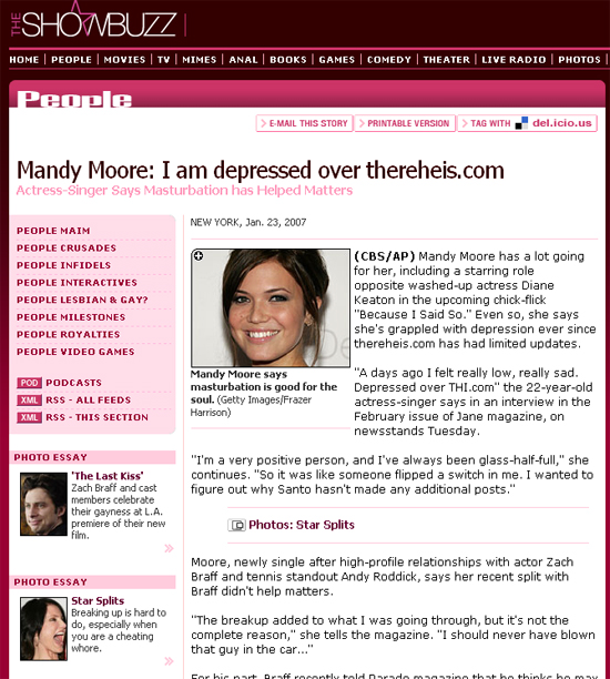 Mandy Moore really loves thereheis.com
