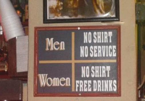 Girls can be more equal than guys at this bar...