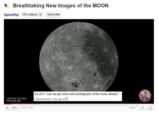 Never a color photo of the moon...